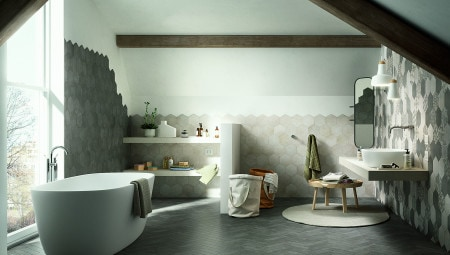The Clays collection by Marazzi, on the floor and the walls, in a bathroom.