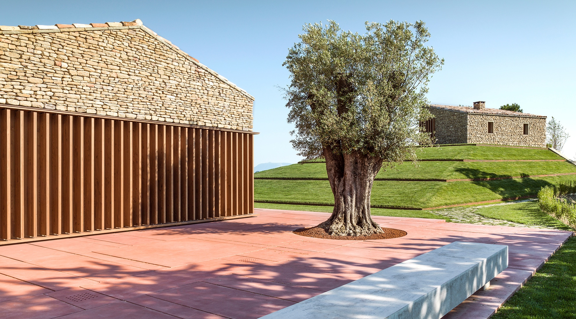 On A Different Axis Is The Third Building, Placed On The Top Of The Hill, A  Service Space Annexed To The Garden Featuring A Centuries Old Olive Tree.