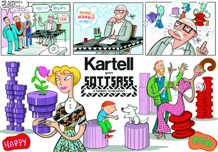 Kartell goes Sottsass becomes a comic strip and a cartoon