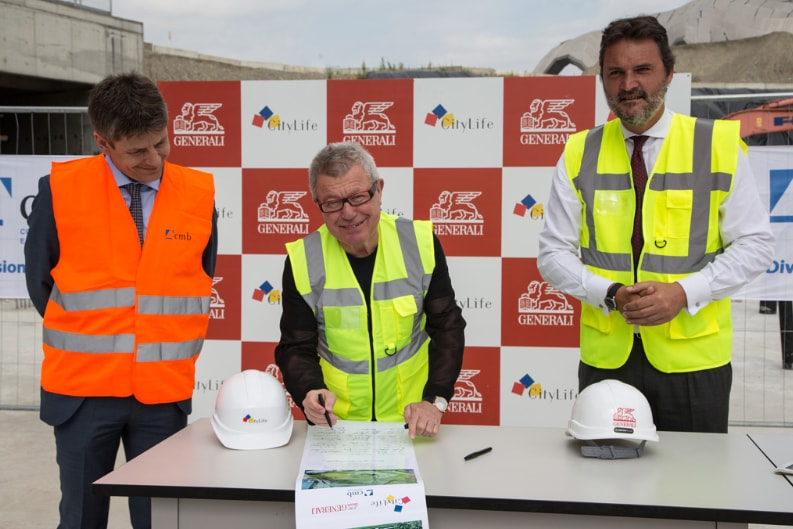 The first stone for the Torre Libeskind at CityLife