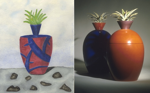 Vases and things. Porcelain, clay and paper