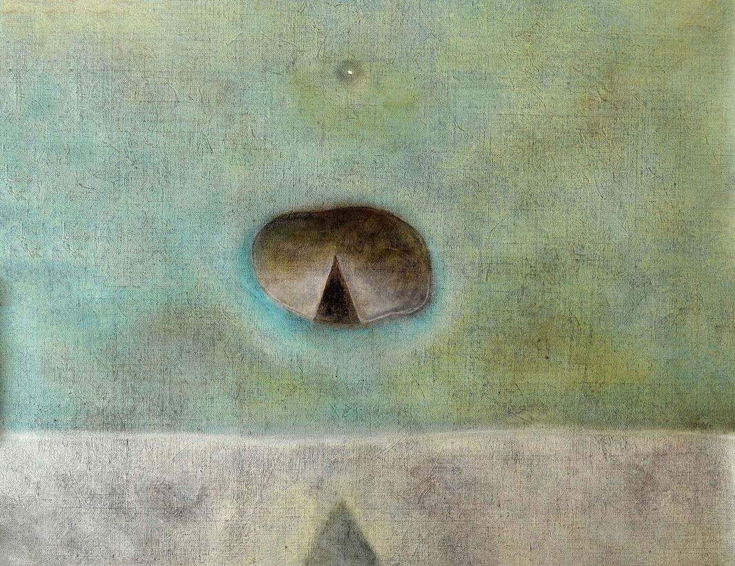 Luca Bonfanti_Divina proiezione – uovo cosmico_2018_tecnica mista acrilico su tela_cm 102×122