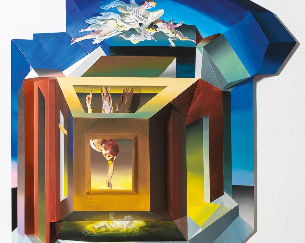 L'Angelo annunciatore_2019-1_colori acrilici su tavola sfaccettata_130x122x20cm_foto Cosimo Filippini