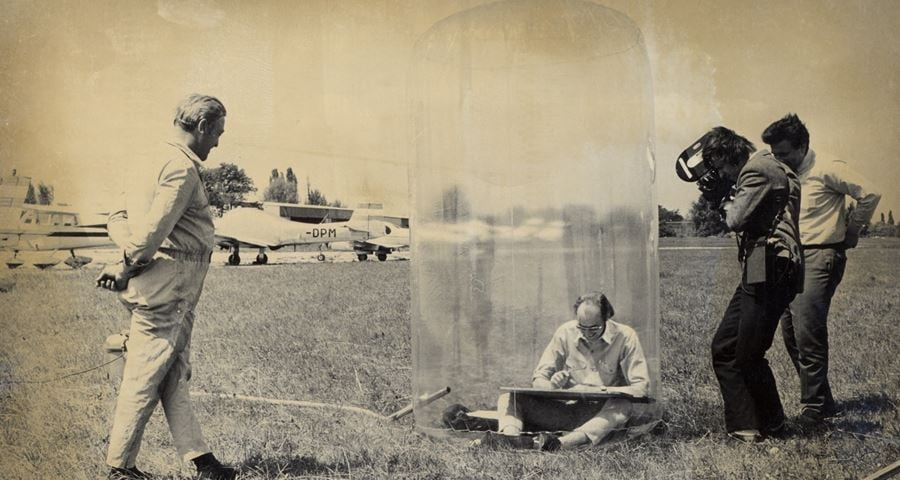 Credit | Just Landed. Hans Hollein in his 'Mobile Office', 1969. Courtesy of Private Archive Hollein