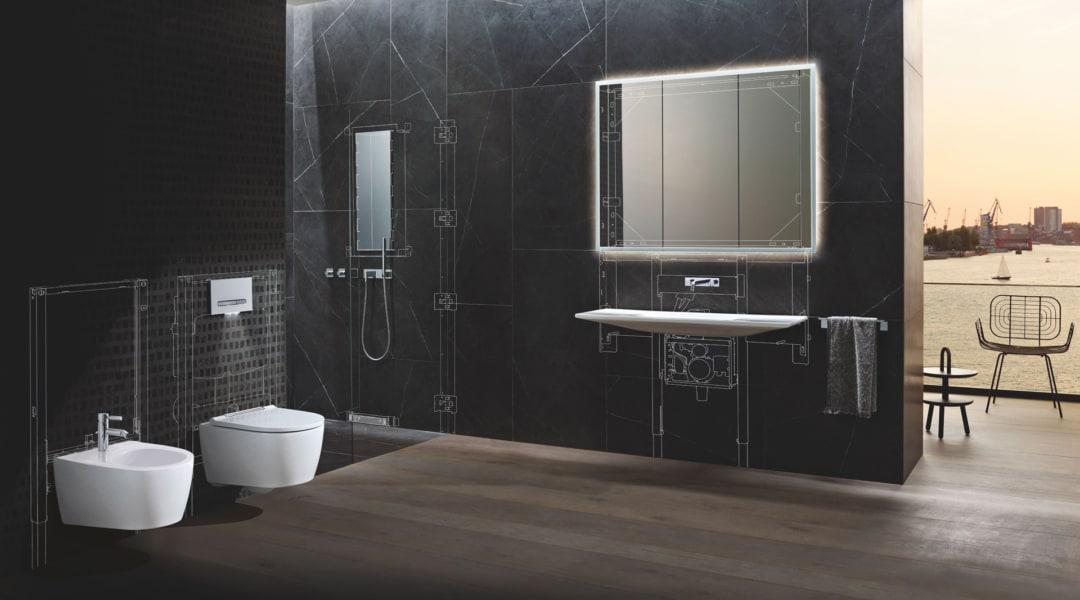 1_Geberit ONE_Collezione ceramica completa di sanitari zona lavabo area doccia e complemeti di arrendo_Design Geberit_r