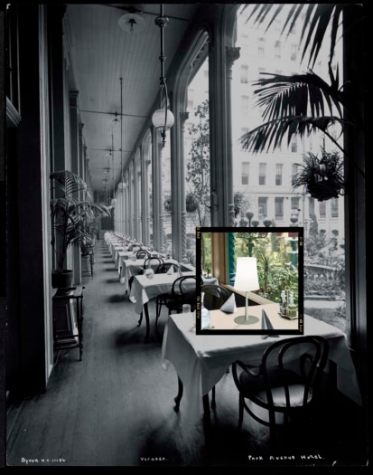 The veranda at the Park Avenue Hotel, 1901 or 1902 (silver gelatin print)
