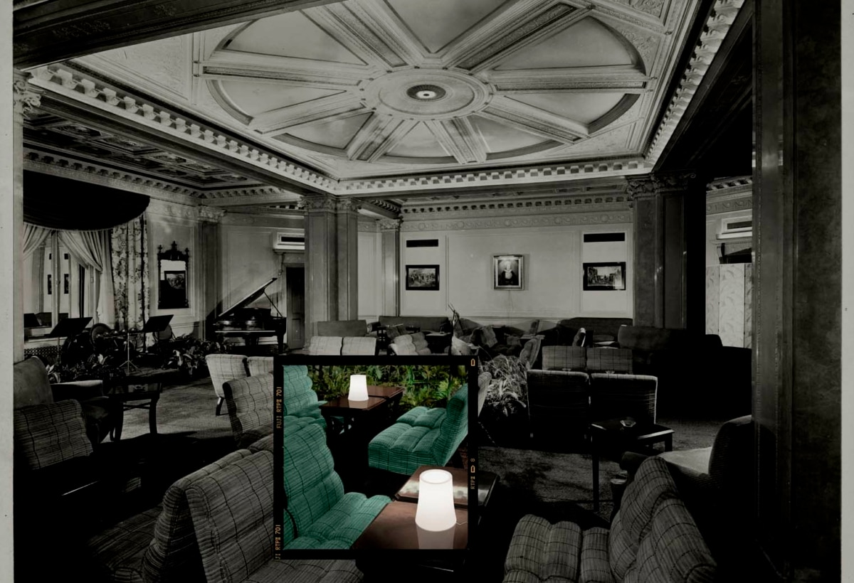 The lounge, looking east at the Hotel White, 37th Street and Lexington, New York, 8th March, 1937 (silver gelatin print)