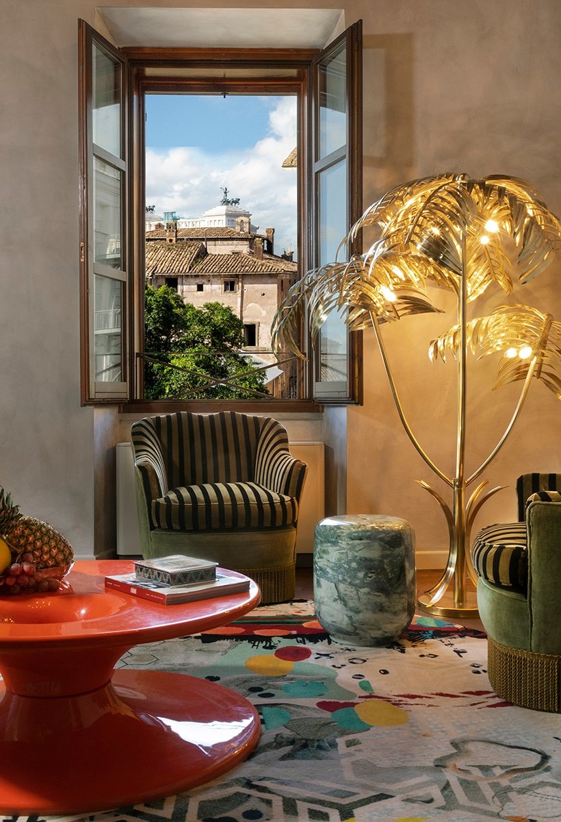 In Rome, a hotel with botanic, vibrant interiors